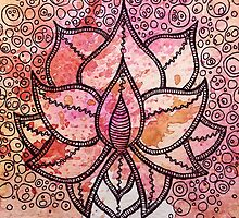 Mandala lotus zen yoga asian meditation doodle watercolor by Big Kidult