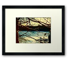 Snowy Morning and Dock Framed Print