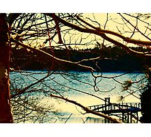 Snowy Morning and Dock Photographic Print