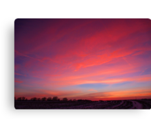 snowy sunset Canvas Print