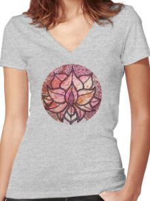 Mandala lotus zen yoga asian meditation doodle watercolor Women's Fitted V-Neck T-Shirt