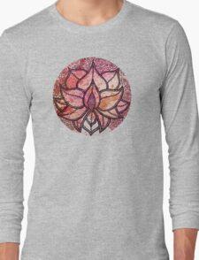 Mandala lotus zen yoga asian meditation doodle watercolor Long Sleeve T-Shirt