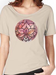 Mandala lotus zen yoga asian meditation doodle watercolor Women's Relaxed Fit T-Shirt