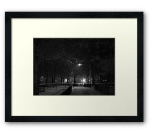 NYC Snowy Path B&W Framed Print