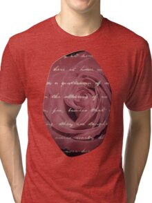 Antique Red Rose with Text Tri-blend T-Shirt