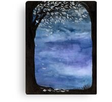Blue sky, Tree watercolor painting Canvas Print