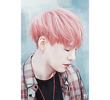 Fluffy Pink Yoongi Photographic Print
