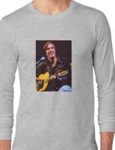 Jackson Browne- Smiling with Guitar Long Sleeve T-Shirt