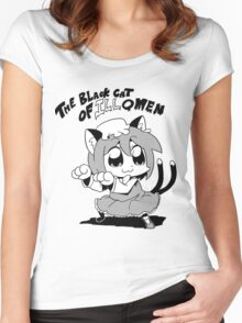 the black cat Women's Fitted Scoop T-Shirt