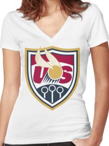 United States of America Quidditch Logo Large Women's Fitted V-Neck T-Shirt