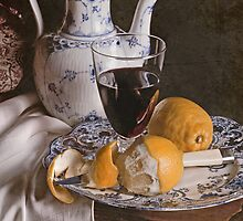 Blue Plate & Pealed Lemon by Rachel Slepekis
