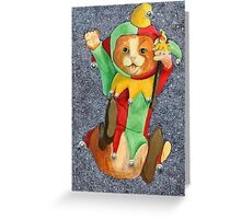 Jester Cat with Balls Greeting Card