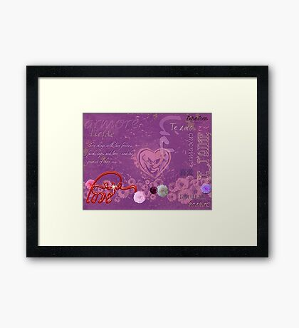 Love Hearts Words that Inspire Framed Print