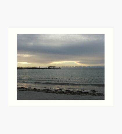 silver sky & sea with jetty Art Print