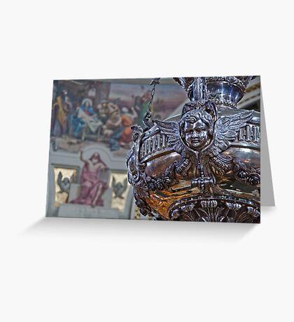 Mosta Church: Silver Votive Lamp Greeting Card