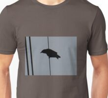 Crow on a wire: silhouette Unisex T-Shirt