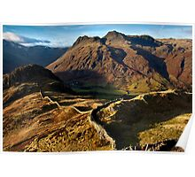 Winter views of the Langdale pikes Poster