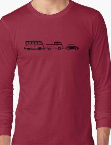 VW Samba, Dual Cab, Beetle - Black print Long Sleeve T-Shirt
