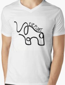 One Line Elephant Mens V-Neck T-Shirt