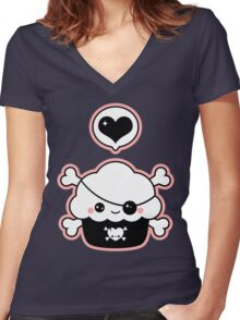 Cute Pirate Cupcake Women's Fitted V-Neck T-Shirt