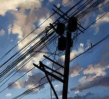 blue sky telephone wires by Maysoulrose