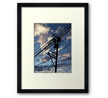 blue sky telephone wires Framed Print