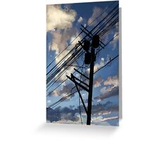 blue sky telephone wires Greeting Card