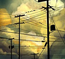 green sky telephone wires by Maysoulrose