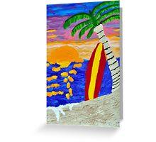 Surfer Sunset Greeting Card
