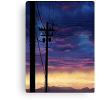 purple sky telephone wires Canvas Print