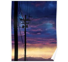 purple sky telephone wires Poster