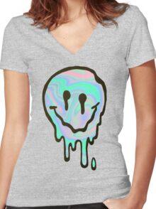 Hologram Smile Women's Fitted V-Neck T-Shirt