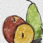 Still life of an apple, orange and pear by stargifts