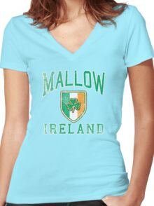 Mallow, Ireland with Shamrock Women's Fitted V-Neck T-Shirt