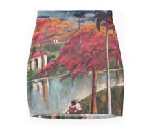 Victor Manuel Cuban Countryside Painting Mini Skirt