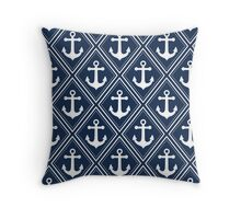 Navy and White Anchor Pattern Throw Pillow