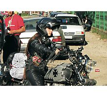 Beauty On Motorbike Photographic Print