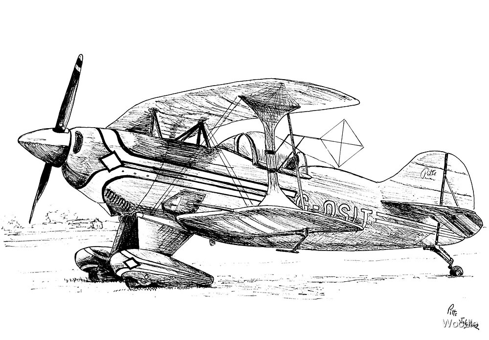 Pitts Plane in pen by Woodie