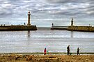 The Lighthouses and Twin Piers at Whitby by Christine Smith