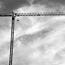Construction Crane – black and white photograph by RocklawnArts