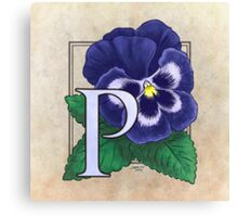 P is for Pansy Canvas Print