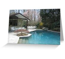 Spring-Time Pool House Nestled inthe Evergreens and Flowering Trees Greeting Card
