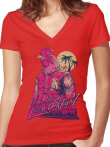 hotline miami richard Women's Fitted V-Neck T-Shirt