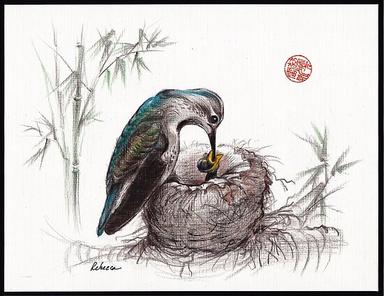 """A Mother's Love"" - Mother Hummingbird and Baby by Rebecca Rees"