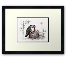 """A Mother's Love"" - Mother Hummingbird and Baby Framed Print"