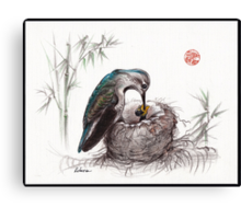 """A Mother's Love"" - Mother Hummingbird and Baby Canvas Print"