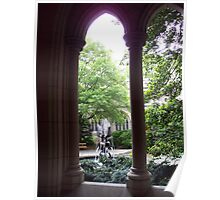Cloistered fountain Poster
