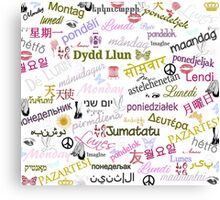 Monday Multi Language Print Canvas Print