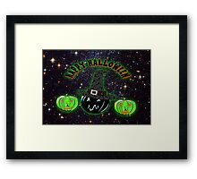 Halloween Pumpkins on an image of the Universe. Framed Print