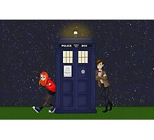 Amy Pond, the Doctor, and the TARDIS Photographic Print